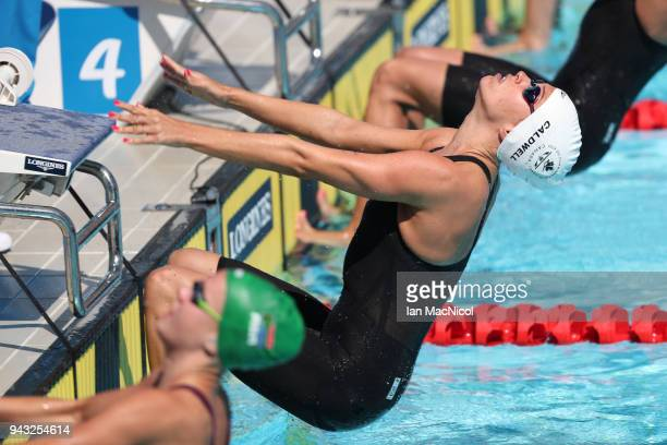 Hilary Caldwell of Canada competes in the heats of the Women's 200m Backstroke on day four of the Gold Coast 2018 Commonwealth Games at Optus Aquatic...