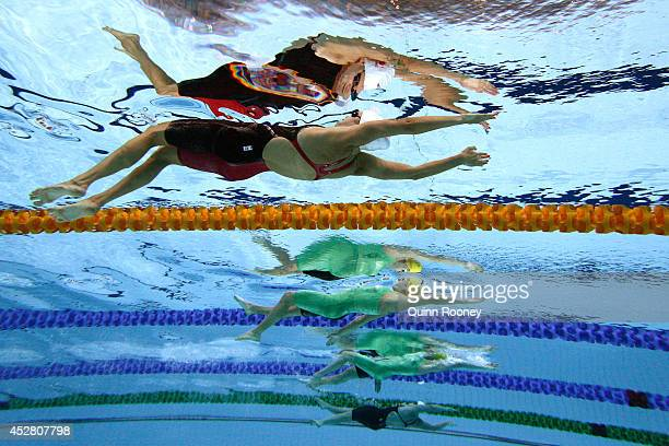 Hilary Caldwell of Canada competes in the Women's 200m Backstroke Final at Tollcross International Swimming Centre during day four of the Glasgow...