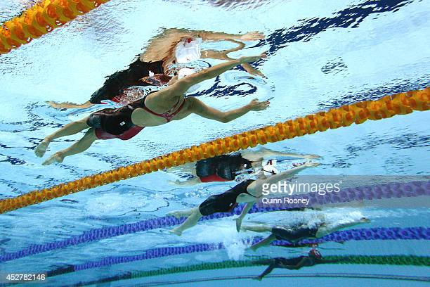 Hilary Caldwell of Canada competes in the Women's 200m Backstroke heat 1 at Tollcross International Swimming Centre during day four of the Glasgow...