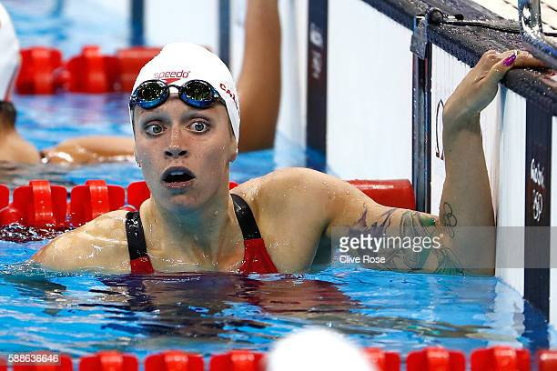 Hilary Caldwell of Canada looks on after the first Semifinal of the Women's 200m Backstroke on Day 6 of the Rio 2016 Olympic Games at the Olympic...