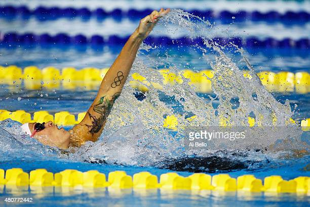 Hilary Caldwell of Canada swims the Women 200m backstroke heat at the Pan Am Games on July 15 2015 in Toronto Canada