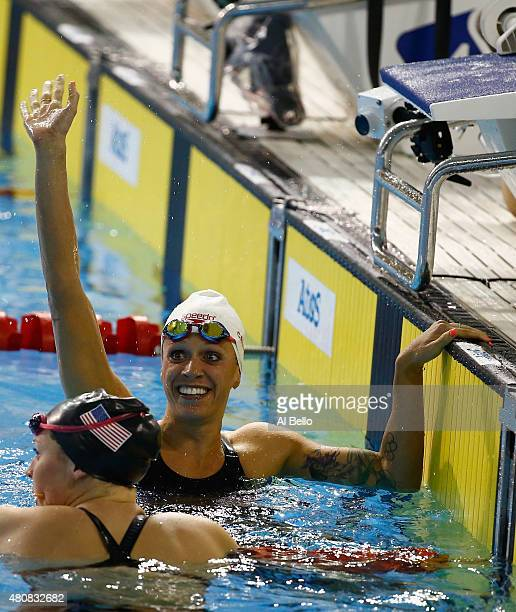 Hilary Caldwell of Canada wins the Women's 200m Backstroke finals at the Pan Am Games on July 15 2015 in Toronto Canada