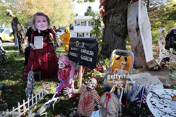 Hilary Clinton depicted in a Halloween scene combining the season and the upcoming presidential election in the garden of a home in the coastal town...