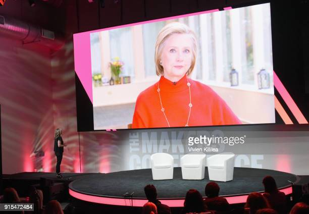 Hilary Clinton speaks live from New York with Founder and Executive Producer MAKERS Dyllan McGee during The 2018 MAKERS Conference at NeueHouse...