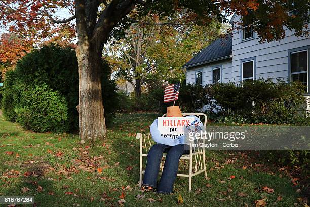 Hilary Clinton supporters dummy in the garden of a home in the coastal town of Madison Connecticut on October 26 2016