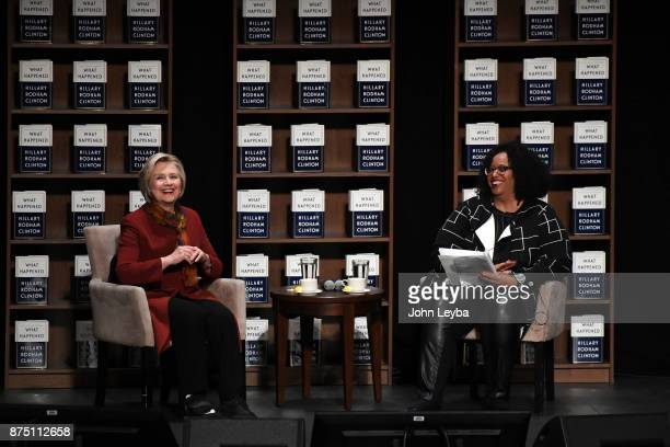 Hilary Clinton with Elbra M Wedgeworth before she addresses the audience about her new book 'What Happened' on November 16 2017 at Bellco Theatre at...