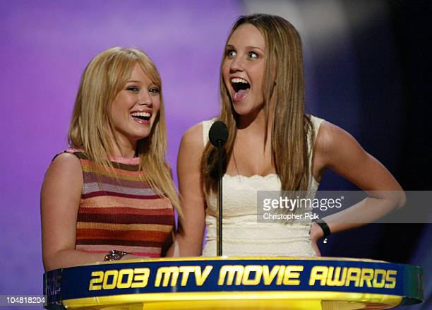 Hilary Duff and Amanda Bynes during 2003 MTV Movie Awards Show at The Shrine Auditorium in Los Angeles California United States
