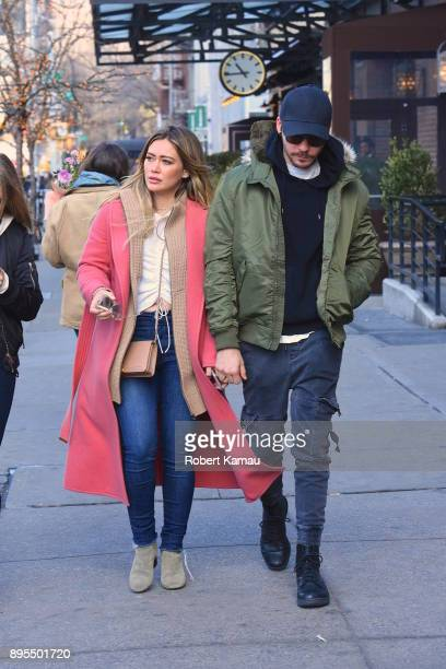 Hilary Duff and boyfriend Matthew Koma seen out walking in Manhattan on December 19 2017 in New York City