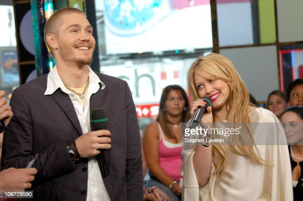 Hilary Duff and Chad Michael Murray during Hilary Duff Chad Michael Murray and Sophia Bush Visit MTV's TRL July 15 2004 at MTV Studios in New York...