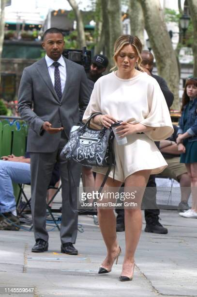 Hilary Duff and Charles Michael Davis are seen on the set of Younger on May 22 2019 in New York City