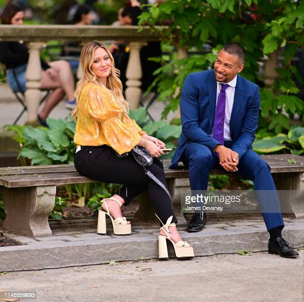 Hilary Duff and Charles Michael Davis are seen on the set of 'Younger' in Bryant Park on May 22 2019 in New York City