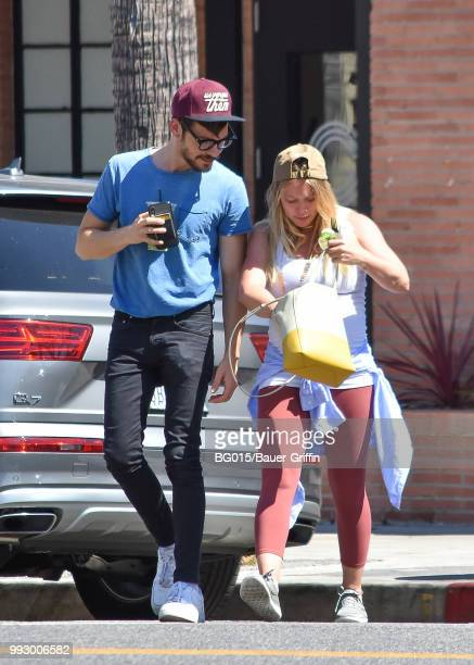 Hilary Duff and her boyfriend Matthew Koma are seen on July 06 2018 in Los Angeles California