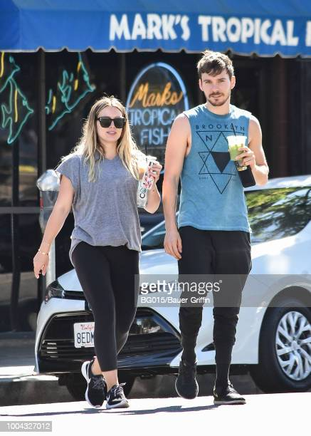 Hilary Duff and her boyfriend Matthew Koma are seen on July 23 2018 in Los Angeles California