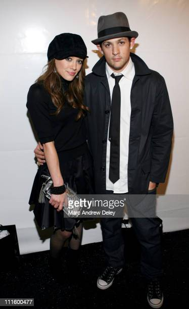 Hilary Duff and Joel Madden during Olympus Fashion Week Spring 2007 Zac Posen Backstage at The Promenade at Bryant Park in New York City New York...