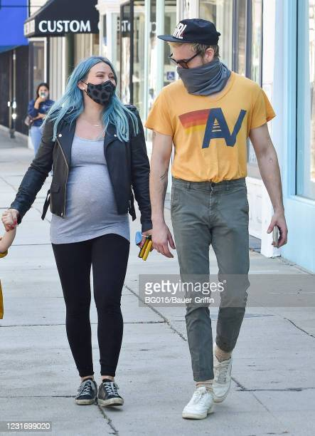 Hilary Duff and Matthew Koma are seen on March 13, 2021 in Los Angeles, California.