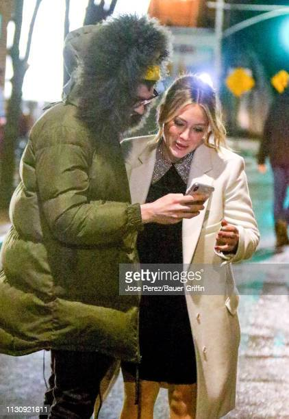 Hilary Duff and Matthew Koma are seen on the film set of the 'Younger' TV Series on March 15 2019 in New York City