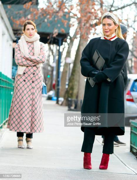 Hilary Duff and Molly Bernard are seen at the film set of the 'Younger' TV Series in Downtown, Manhattan on January 20, 2021 in New York City.