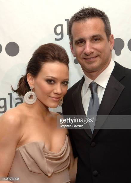 Hilary Duff and Neil Guiliano, President of GLAAD during 18th Annual GLAAD Media Awards New York - Cocktails at Marriott Marquis in New York City,...