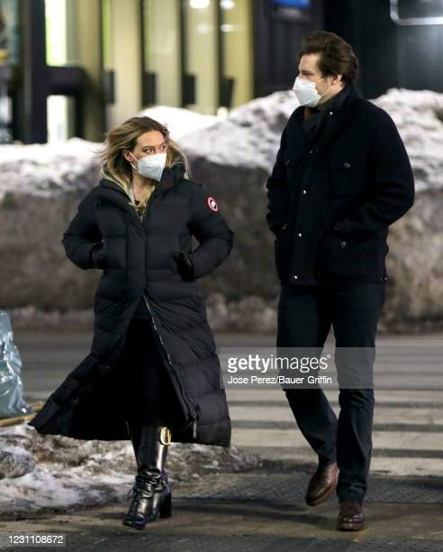"""Hilary Duff and Steven Good are seen on the set of """"Younger"""" on February 11, 2021 in New York City."""