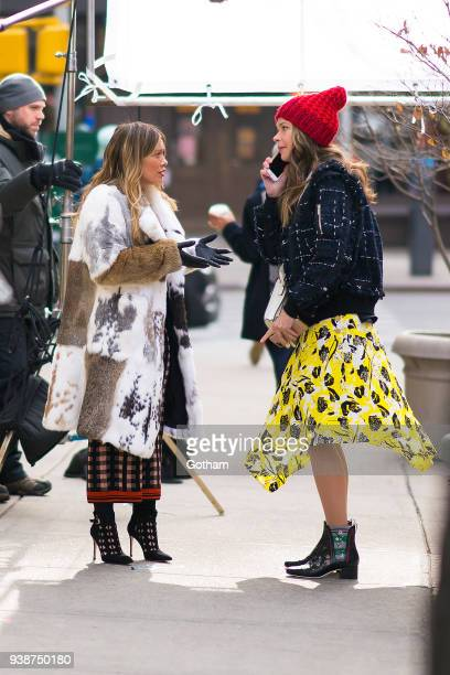 Hilary Duff and Sutton Foster are seen filming 'Younger' in Union Square on March 27, 2018 in New York City.