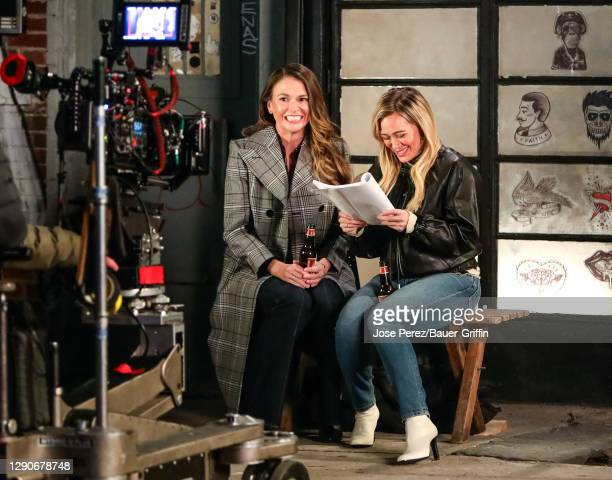 Hilary Duff and Sutton Foster are seen on the set of the 'Younger' in Williamsburg, Brooklyn on December 10, 2020 in New York City.