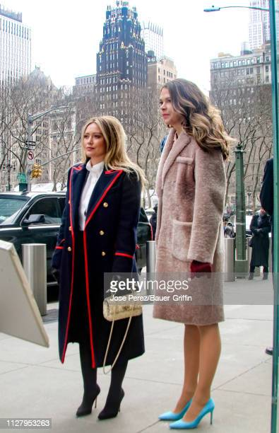 Hilary Duff and Sutton Foster are seen on the set of 'Younger' on February 27, 2019 in New York City.