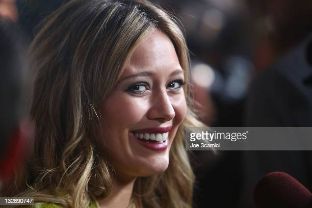 Hilary Duff arrives at the Launch of The Beauty Book For Brain Cancer at Grauman's Chinese Theatre on November 14, 2011 in Hollywood, California.