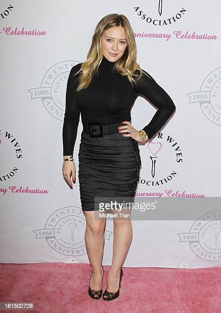 Hilary Duff arrives at the PGA TOUR Wives Association celebrates its 25th Anniversary held at Fairmont Miramar Hotel on February 11 2013 in Santa...