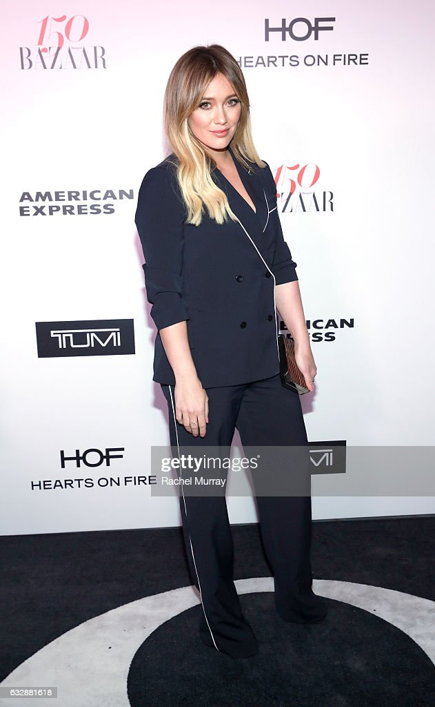 Hilary Duff attends Harper's BAZAAR celebration of the 150 Most Fashionable Women presented by TUMI in partnership with American Express, La Perla and Hearts On Fire at Sunset Tower Hotel on January 27, 2017 in West Hollywood, California.