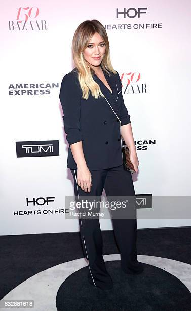 Hilary Duff attends Harper's BAZAAR celebration of the 150 Most Fashionable Women presented by TUMI in partnership with American Express La Perla and...