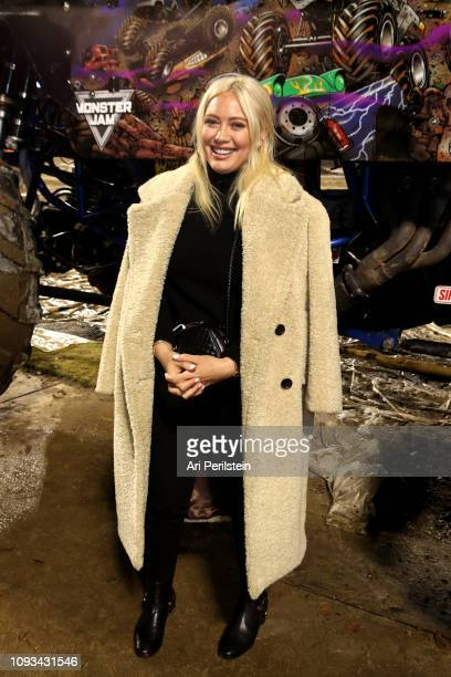 Hilary Duff attends the Monster Jam Celebrity Event at Angel Stadium on January 12, 2019 in Anaheim, California.
