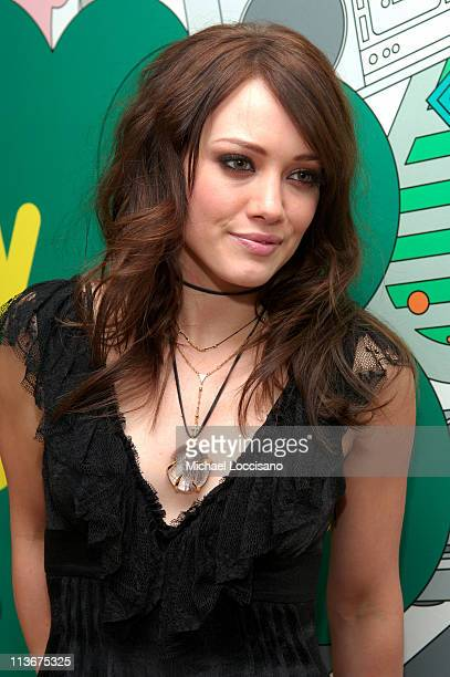Hilary Duff during Hilary Duff Akon and Robin Thicke visit MTV's 'TRL' February 8 2007 at MTV Studios in New York City New York United States