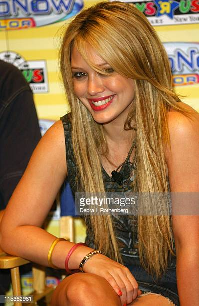 Hilary Duff during Hilary Duff and Tony Hawk Introduce Hasbro's Videonow Color Personal Player at Toys 'R' Us in New York City New York United States