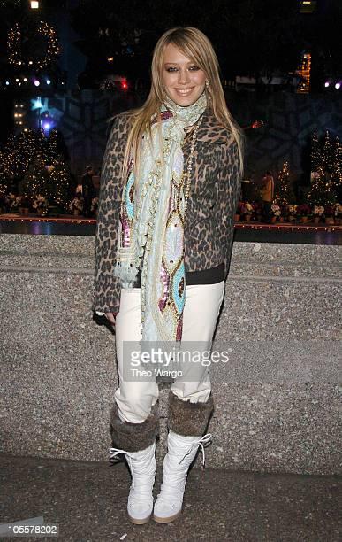 Hilary Duff during Rockefeller Plaza 2004 Christmas Tree Lighting Ceremony at Rockefeller Plaza in New York City New York United States