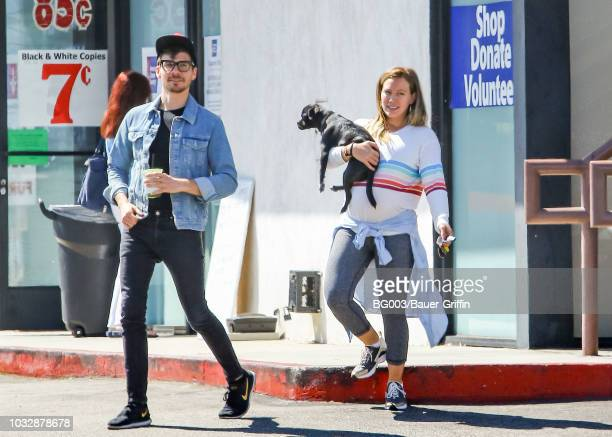 Hilary Duff her boyfriend Matthew Koma and her dog Mojito are seen on September 13 2018 in Los Angeles California