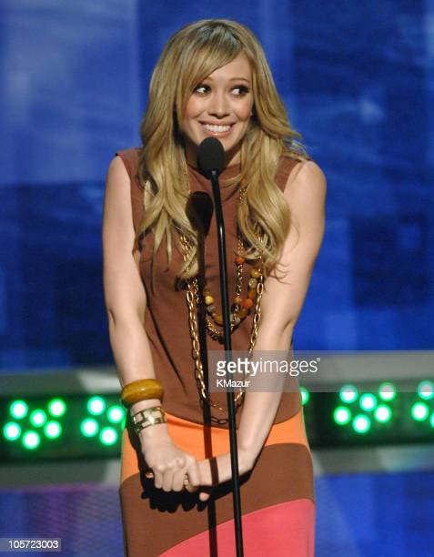Hilary Duff introduces Foo Fighter performance during 2005 MTV Movie Awards Show at Shrine Auditorium in Los Angeles California United States