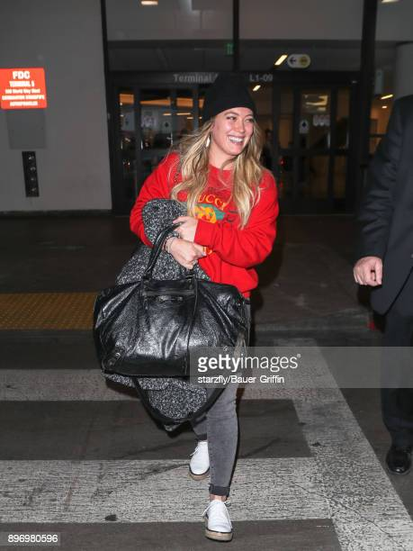 Hilary Duff is seen at Los Angeles International Airport on December 21 2017 in Los Angeles California
