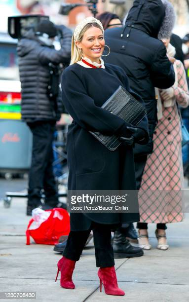 Hilary Duff is seen at the film set of the 'Younger' TV Series in Downtown, Manhattan on January 20, 2021 in New York City.
