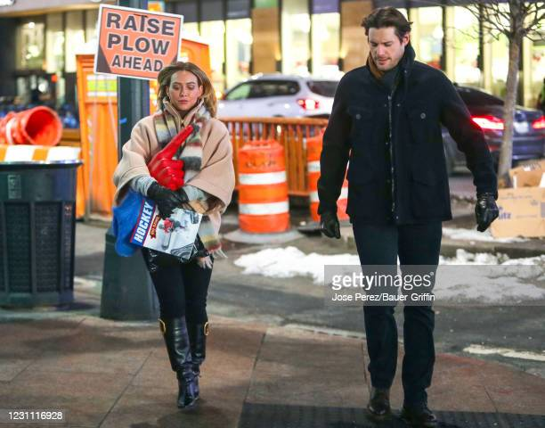 Hilary Duff is seen at the film set of the 'Younger' TV Series on February 11, 2021 in New York City.