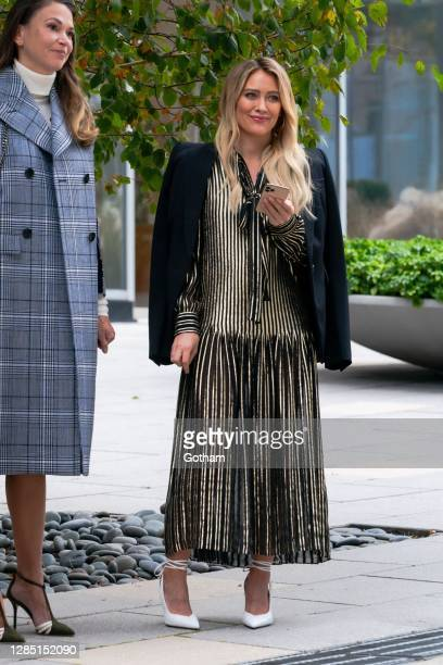 """Hilary Duff is seen filming a scene for """"Younger"""" in the Upper West Side on November 11, 2020 in New York City."""