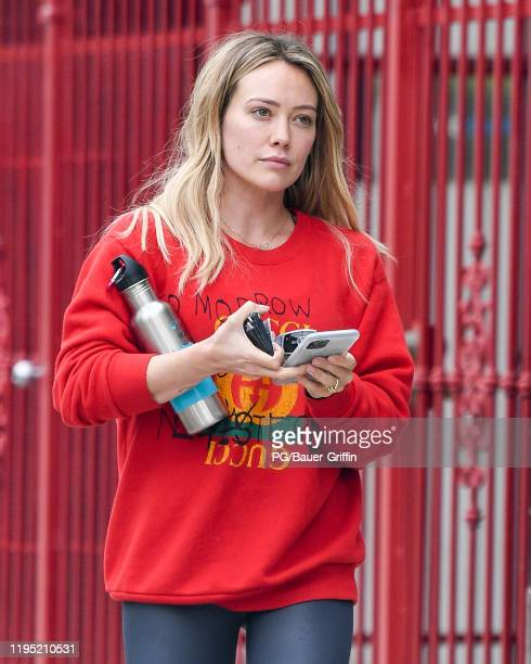 Hilary Duff is seen leaving a gym on January 21, 2020 in Los Angeles, California.