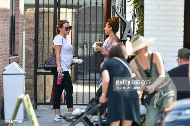Hilary Duff is seen leaving a Soul Cycle spin class on July 27 2018 in Los Angeles California