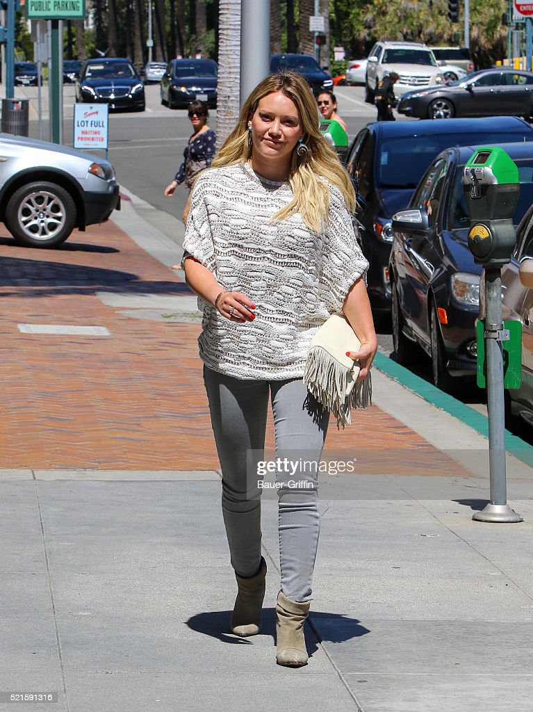 Hilary Duff is seen on April 16, 2016 in Los Angeles, California.