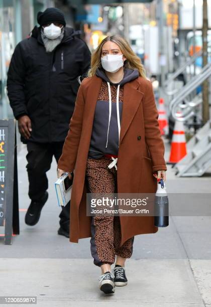 Hilary Duff is seen on January 18, 2021 in New York City.