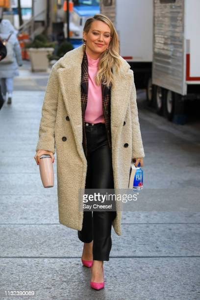 Hilary Duff is seen on location of 'Younger' on February 26, 2019 in New York City.