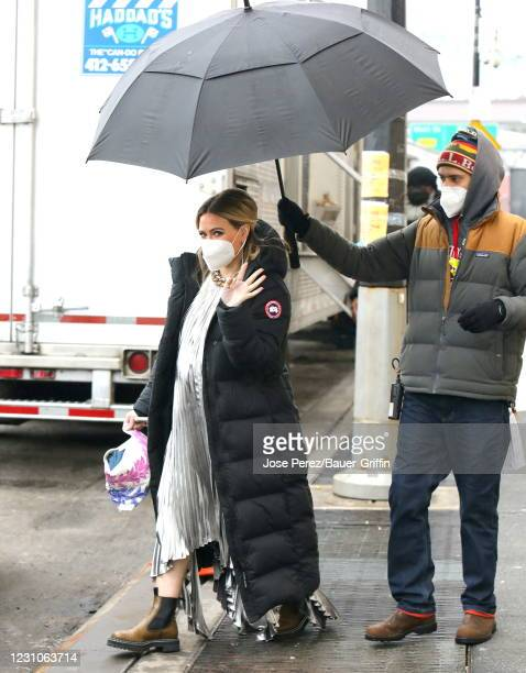 Hilary Duff is seen on the set of Younger on February 09, 2021 in New York City.