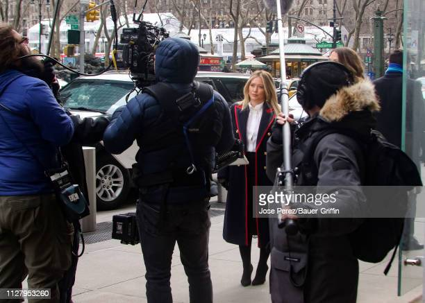 Hilary Duff is seen on the set of 'Younger' on February 27, 2019 in New York City.