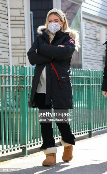"""Hilary Duff is seen on the set of """"Younger"""" on January 20, 2021 in New York City."""