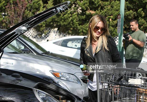 Hilary Duff is seen shopping at Bristol Farms market on February 20 2014 in Los Angeles California