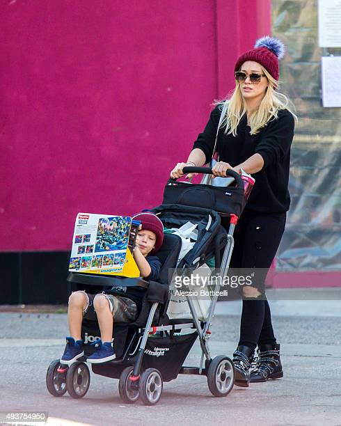 Hilary Duff is seen taking her son Luca Cruz Comrie to a toy shop on October 21 2015 in New York City